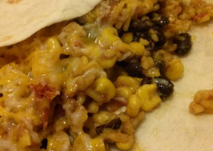 Nikki's Quickie Rice, Beans & Stuff; can be eaten as a side or as a Burrito