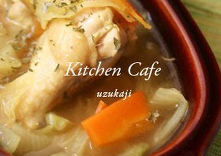 Curry Consomme Soup with Chicken Wings and Cabbage