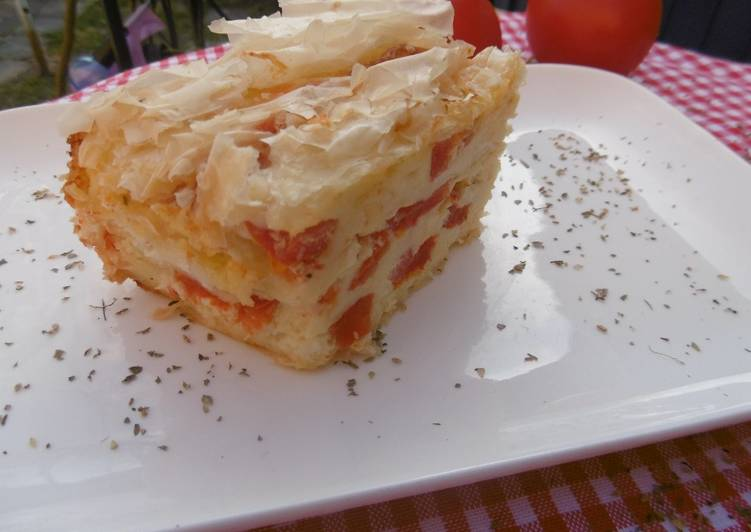 Foods That Can Make You Happy Feta and Tomato Creased Phyllo Cheese Pie (Patsavouropita) :)