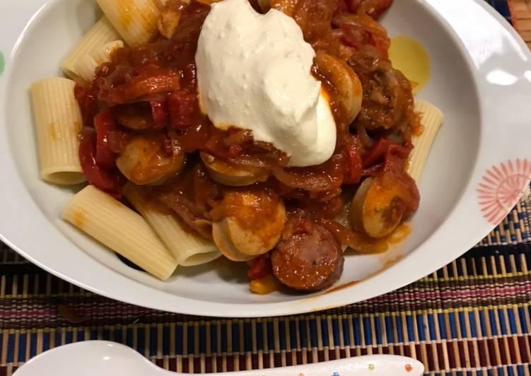 Recipe of Spicy unusual sausage goulash