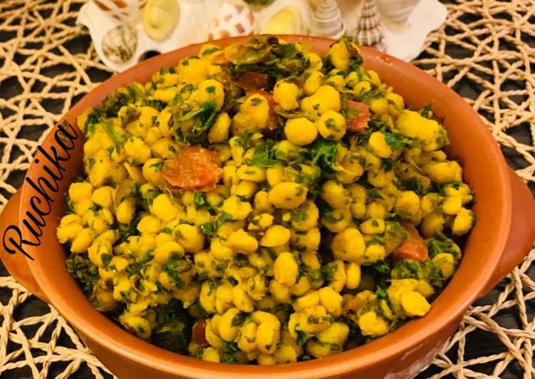 Chana daal methi ki sabzi engal gram and fenugreek leaves veg)