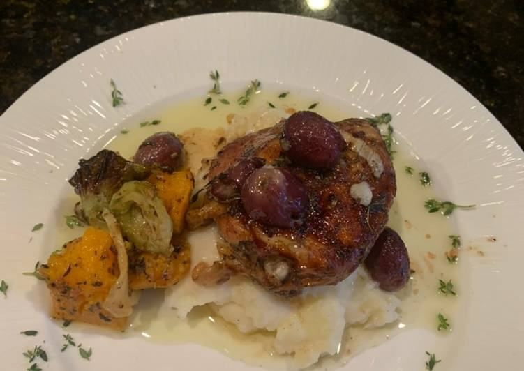 Rosemary Chicken Thighs w Roasted Grapes and Smashed Parsnips