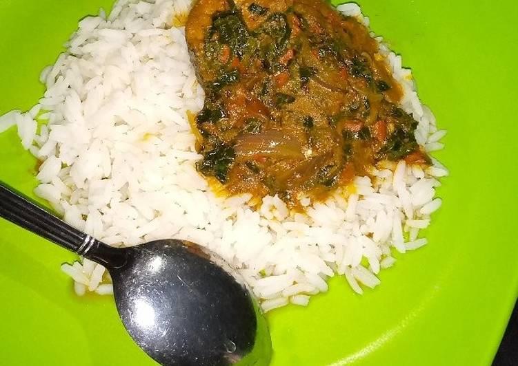 Banga stew and white rice