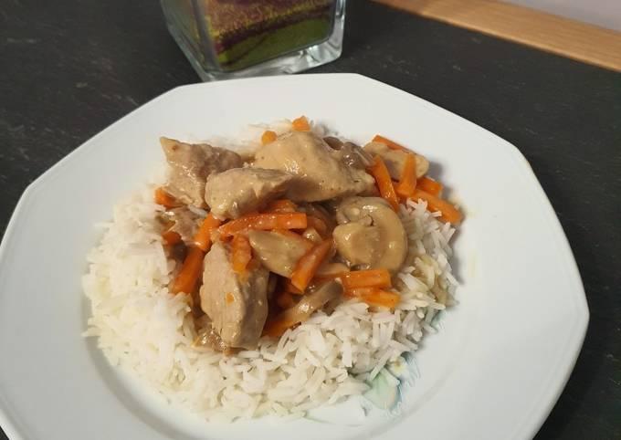 Sauté de porc aux carottes et champignons au cookeo