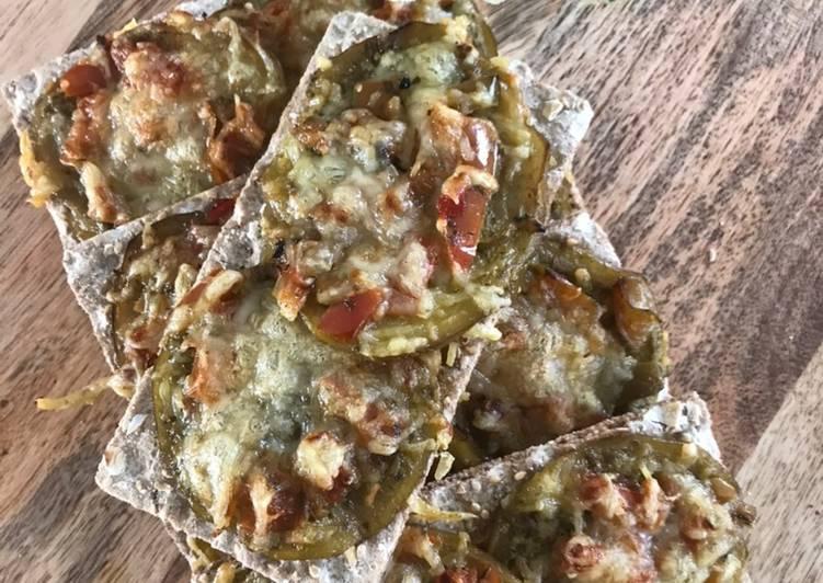 Comment Cuisiner TARTINES PESTO/AUBERGINES/POIVRONS