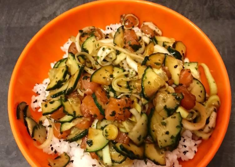 Chirachi de saumon poireaux concombre