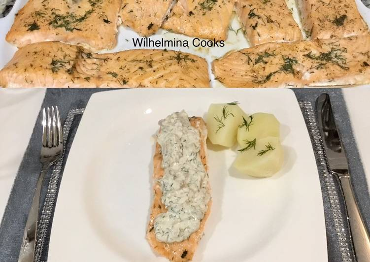 Salmon with Creamy Mushroom Dill Sauce, Some Foods That Help Your Heart
