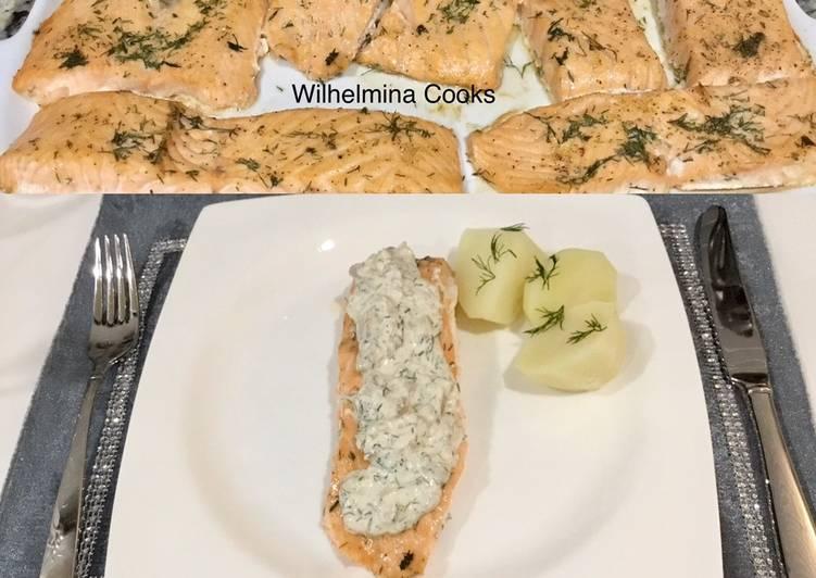 Recipe of Perfect Salmon with Creamy Mushroom Dill Sauce