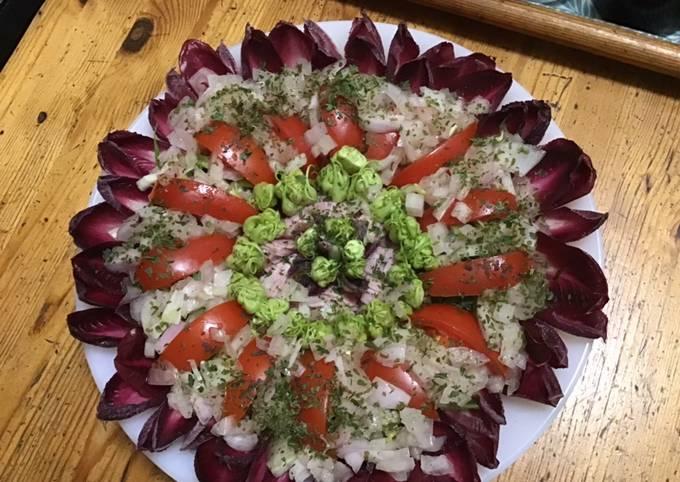 Salade de puntarelle endives rouges fenouil tomates et jambon blanc sauce oignon