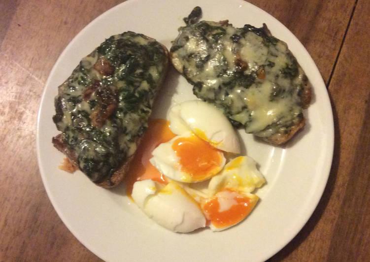 Tartine d'Épinards gratinées au Roquefort, Oeuf mollet