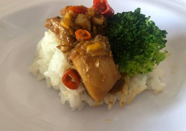 Nasi ikan blackpaper (menu diet sehat tanpa minyak)