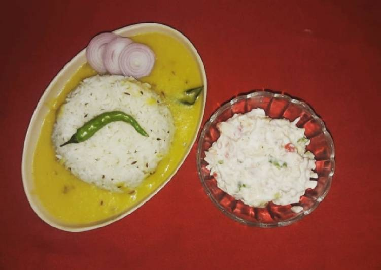 Recipe: Yummy Dal Fry and Jeera Rice with mayonnaise salad