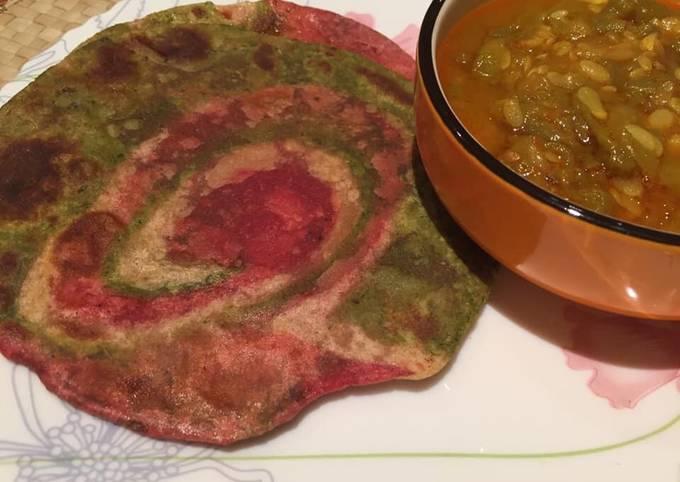 Recipe of Speedy Beet Spinach Paratha