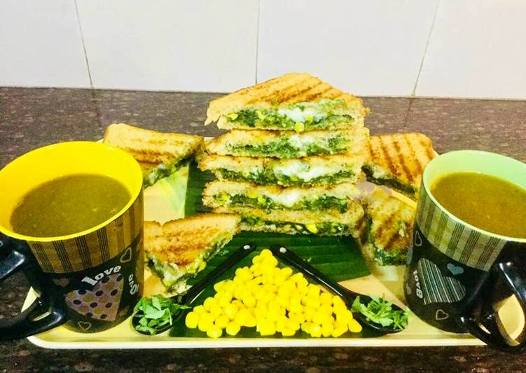 Recipe of Ultimate Spinach-Cheese Corns Grilled Sandwich With Mixed Veg Soup