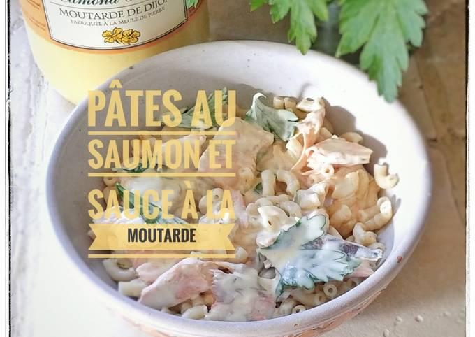 Pâtes au saumon et sauce à la moutarde
