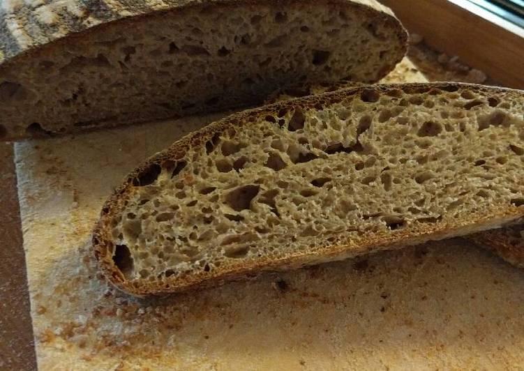 Recipe of Favorite Slow fermented (non retarded) wholemeal sourdough