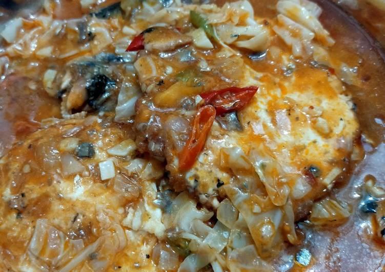 Sarden, kol + telur ceplok (mata sapi)