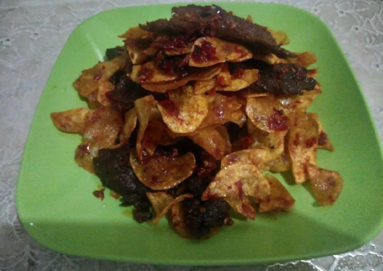 Dendeng daging balado kentang