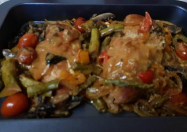 My Mango Chutney sweet Chilli Chicken & Mushrooms. Slow cooked