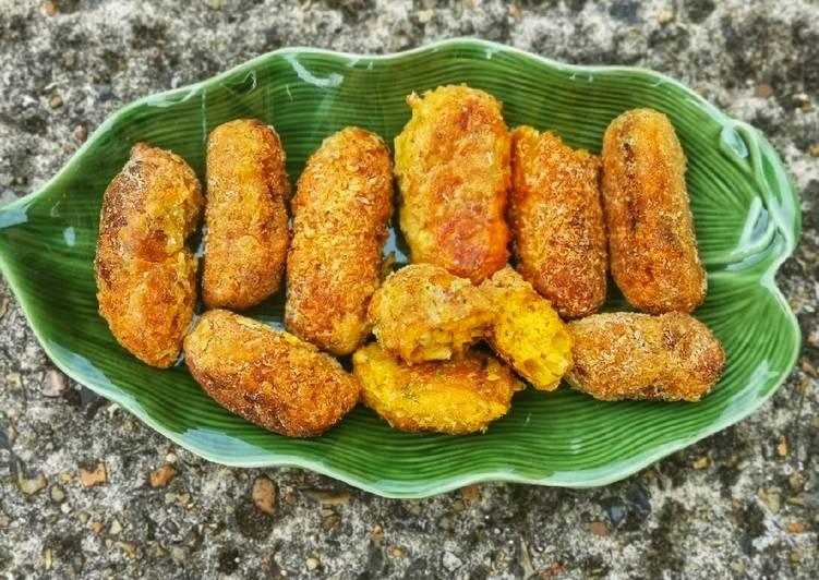 Recipe of Super Quick Homemade Pumpkin, sweet-potato and sweetcorn nibbles in breadcrumbs