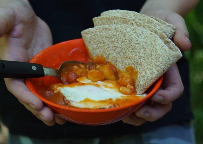 Recipe: Tasty Chorizo, Gnocchi, baked beans and egg one pot family feast
