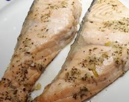 Escalopines de salmón al horno