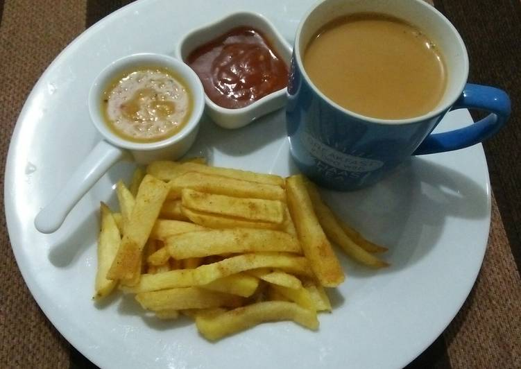Chai with French fries☕🍟❤