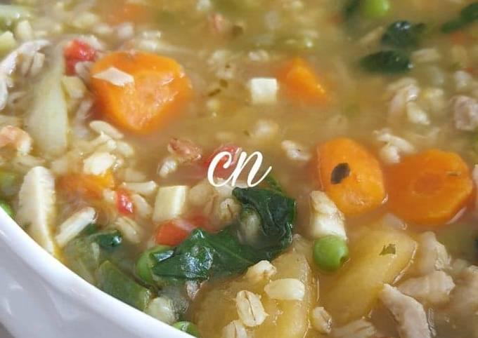 #Soupe d'orge mondé aux légumes