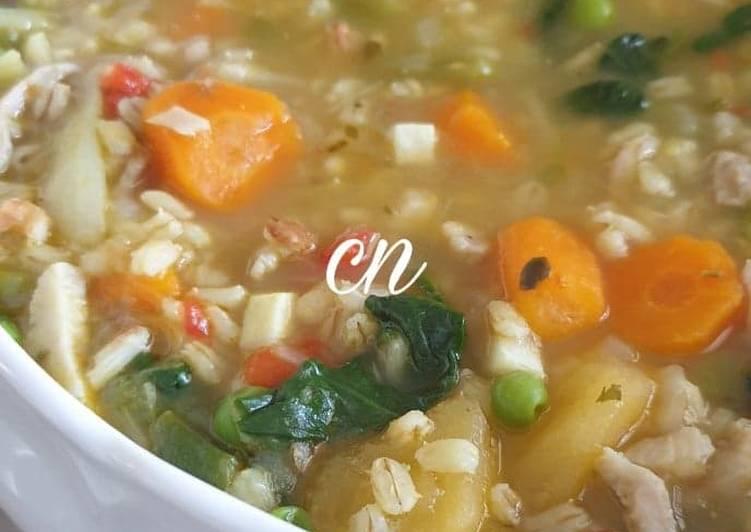 Recette Parfait #Soupe d'orge mondé aux légumes