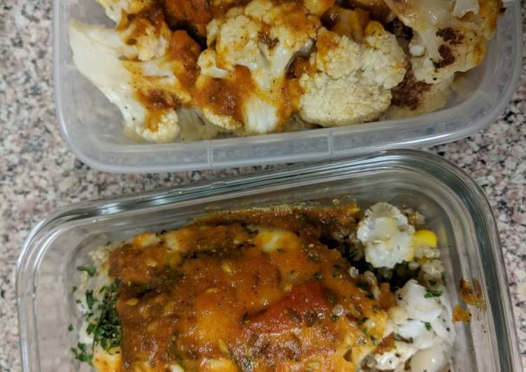Baked cauliflower tilapia over quinoa with tomato curry sauce