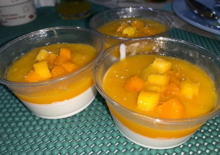 Coconut panna cotta + mango sauce
