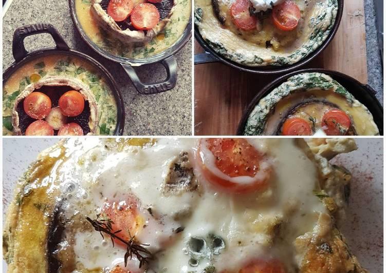 Portobello mushroom oven baked omlette