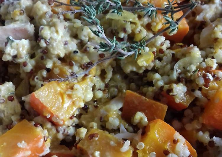 Gratin de potimarron, quinoa et truite fumée