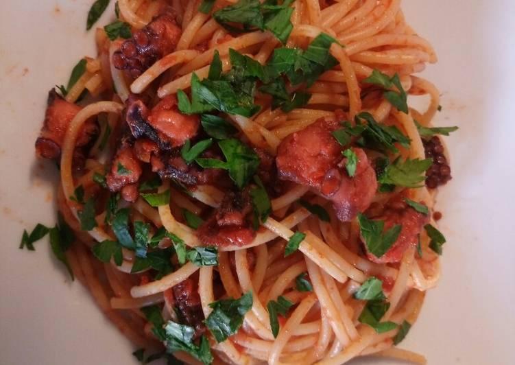 Steps to Make Most Popular Spaghetti al polpo octopus spaghetti