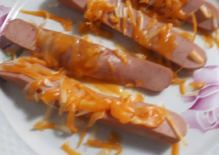 Cheesy sliced hotdogs