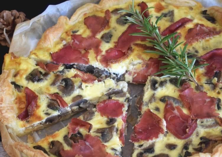 Comment faire Faire Appétissante Tarte aux champignons de Paris et bresaola