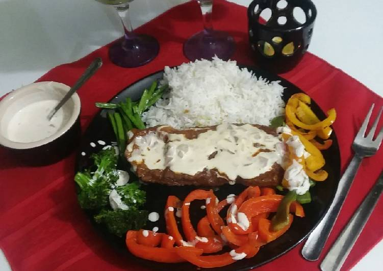Beef steak with creamy sauce, Helping Your To Be Healthy And Strong with The Right Foods