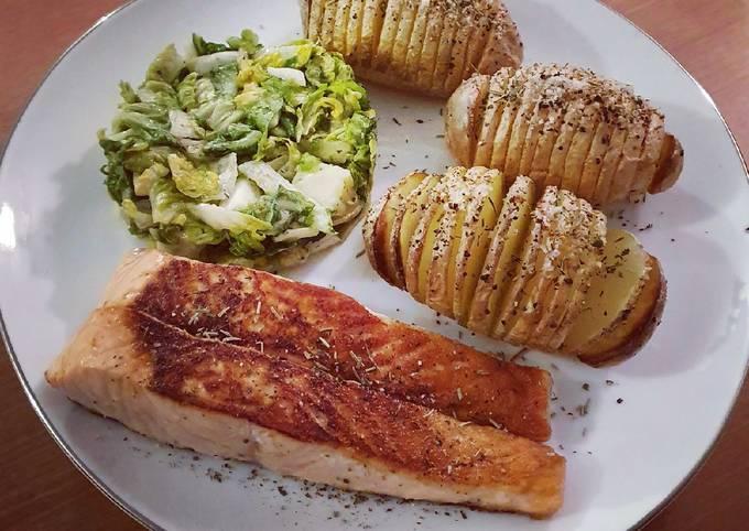 Pavé de saumon et pommes de terre hasselback