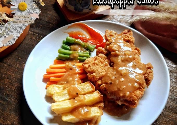 chicken steak with blackpepper sauce - resepenakbgt.com