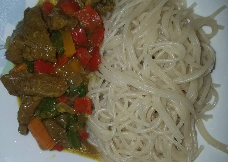 Beef Curry Sauce With Spaghetti