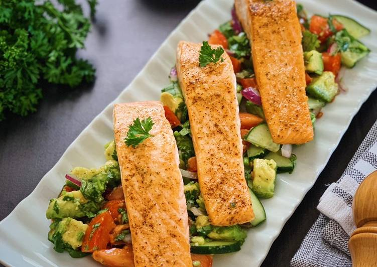 Pan Seared Salmon with Avocado Tomato Cucumber Salad