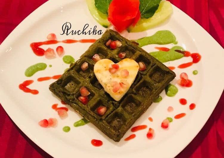 Daal Palak waffles with grilled Paneer