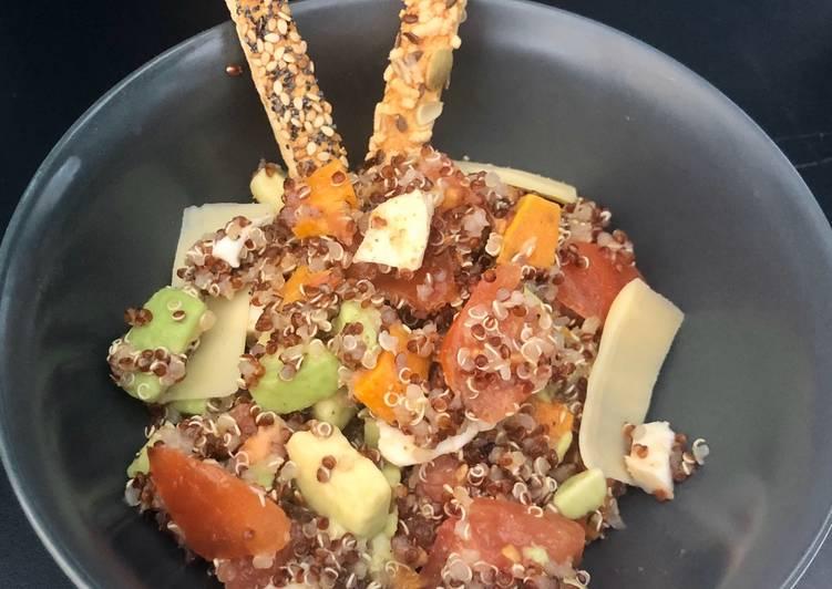 Recette: Délicieux Salade quinoa rouge&blanc, avocats, tomates, mozzarella et patates douces