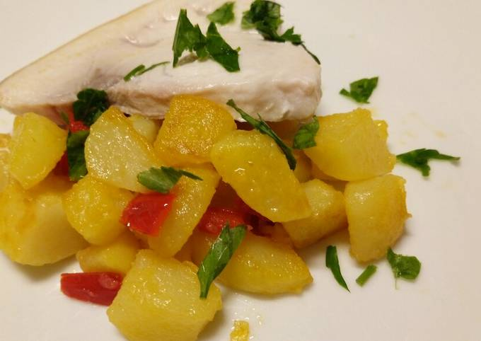 Pan fried swordfish with peppers and potatoes