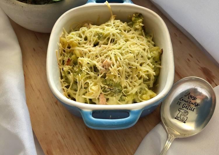 Gratin de coquillette jambon et brocolis