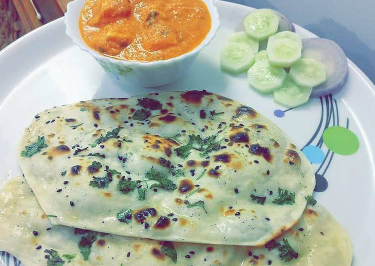 Easiest Way to Make Super Quick Homemade Butter Creamy Chicken with Tawa Butter Naan