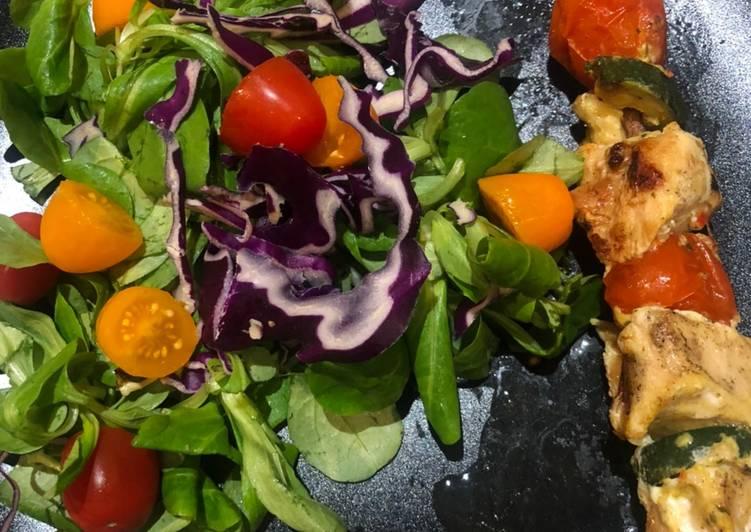 Comment faire Cuire Parfait Brochette de dinde et salade colorée