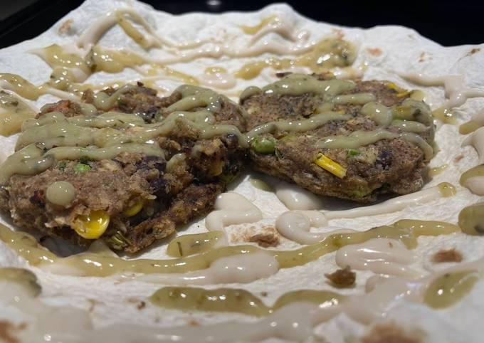 Roasted Garlic & Cilantro Lime Veggie Burger Tortilla Wrap