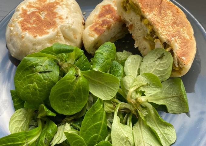 Brioche salé (poulet curry et poireaux)