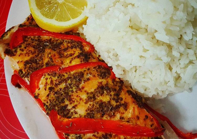 Grilled Salmon with honey mustard
